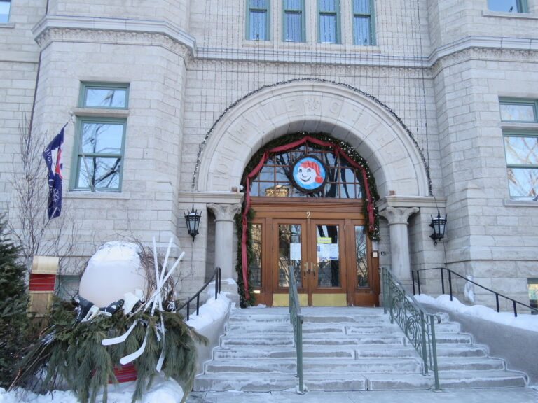 the entrance of the town hall